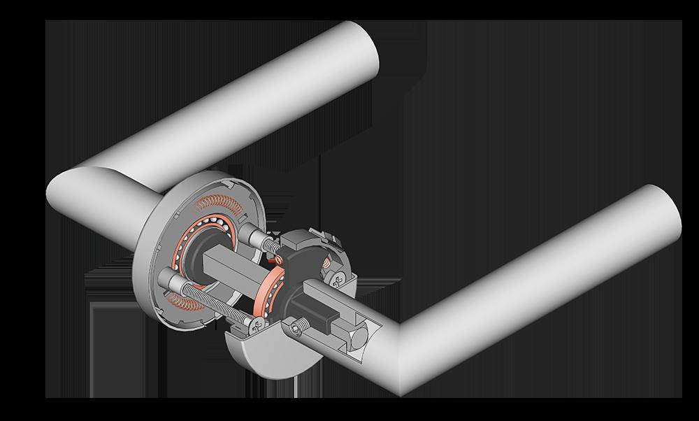 scoop türdrücker mit querschnitt der verschraubung und der pullbloc kugellagertechnik