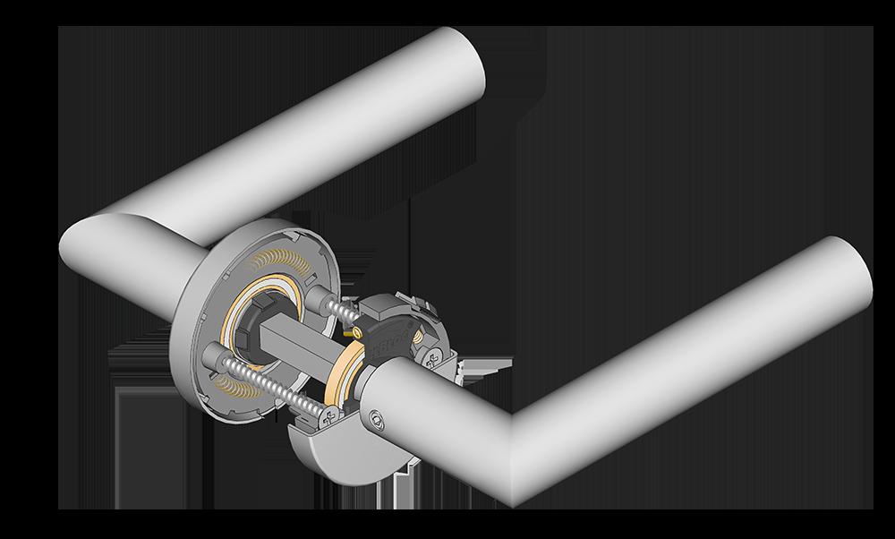 scoop türdrücker mit querschnitt der verschraubung und der slidebloc gleitlagertechnik