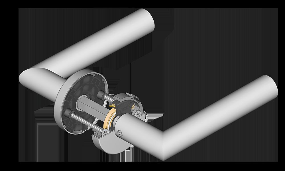 scoop türdrücker mit querschnitt der verschraubung und der slidebloc light gleitlagertechnik