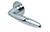 scoop flache lösungen türdrücker form 1083 in edelstahl poliert auf flacher rundrosette