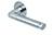 scoop flache lösungen türdrücker form 1101 in edelstahl poliert auf flacher rundrosette